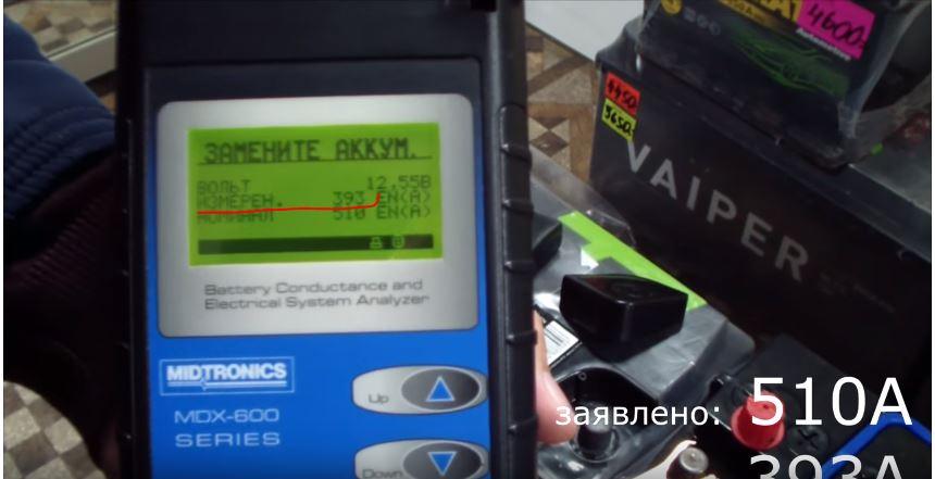 Тест автомобильной аккумуляторной батареи Atlant