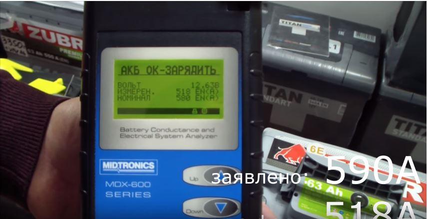 Тест автомобильной АК батареи Vesta