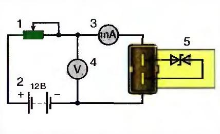 Рис. 1. Схема проверки датчика температуры на двигателе ЗМЗ-4062: 1 - переменный резистор 10 кОм; 2 - аккумуляторная батарея; 3 - вольтметр; 4 - миллиамперметр; 5 - датчик.