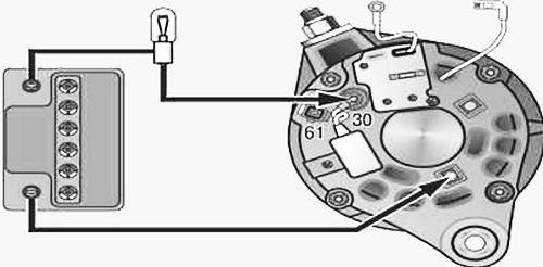 Как проверить диодный мост генератора Ваз 2110 при помощи лампочки шаг 3