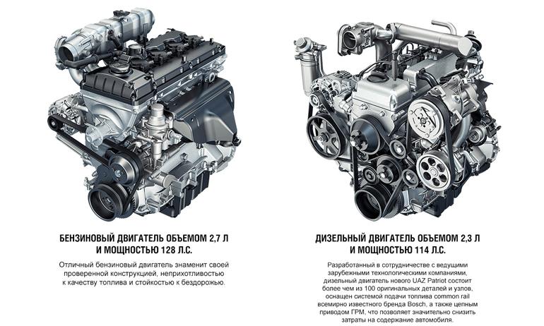 Дизельный и бензиновый двигатель УАЗ Патриот
