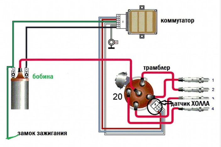 Схема подключения элементов электронного зажигания Ваз 2107