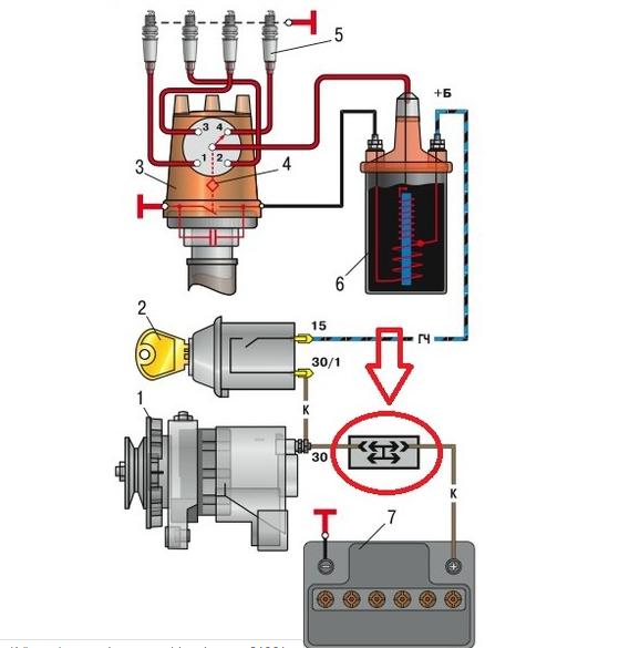 Схема системы зажигания Ваз 2106